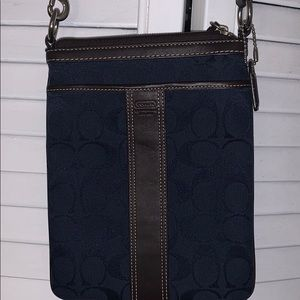 Coach Crossbody Purse Dark Blue and Brown